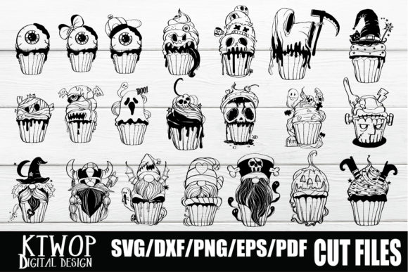 Print on Demand: Halloween Cupcake 21 Bundle Graphic Crafts By KtwoP