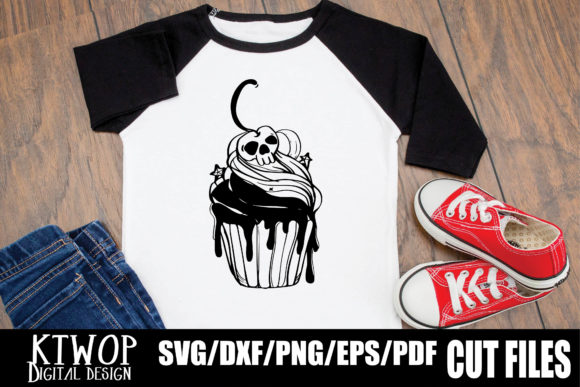 Print on Demand: Halloween Cupcake Berry Skull Graphic Crafts By KtwoP