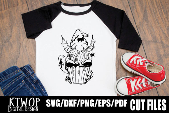 Print on Demand: Halloween Cupcake Gnome Boo! Graphic Crafts By KtwoP