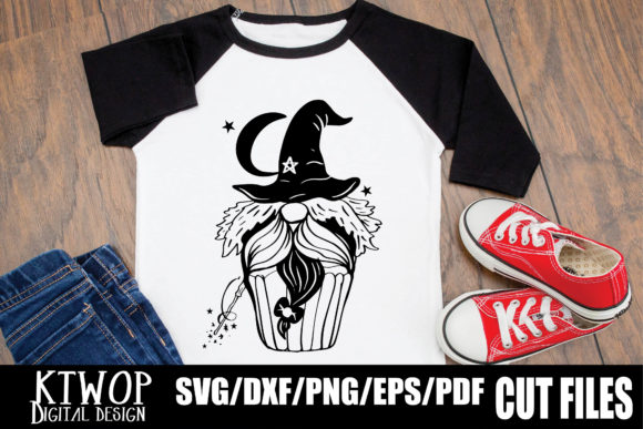 Print on Demand: Halloween Cupcake Gnome Witch Graphic Crafts By KtwoP