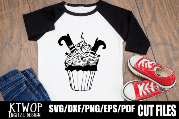 Print on Demand: Halloween Cupcake Witch Boot Graphic Crafts By KtwoP