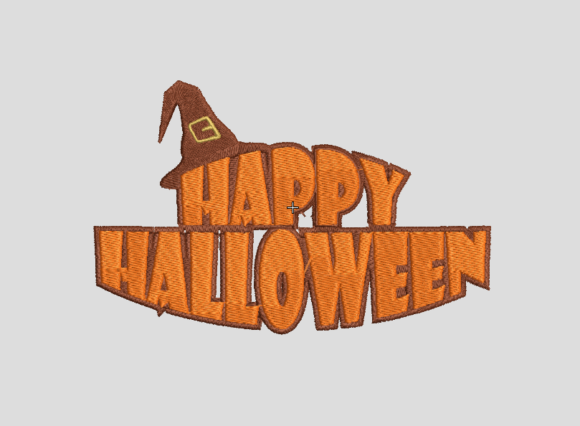 Happy Halloween Banner Embroidery