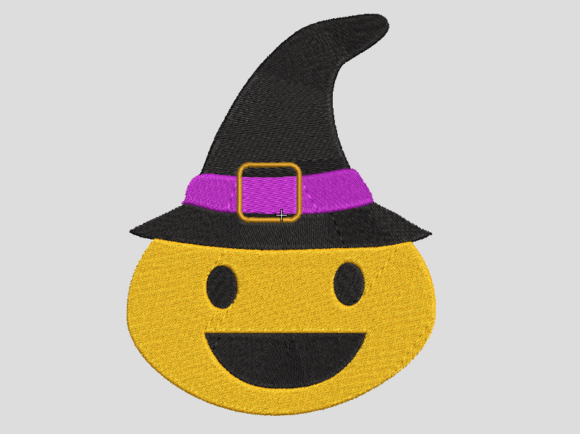 Helloween Emoticon with Witch Hat Embroidery