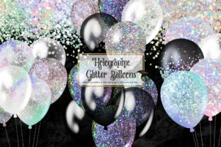 Print on Demand: Holographic Glitter Balloons Clipart Graphic Illustrations By Digital Curio