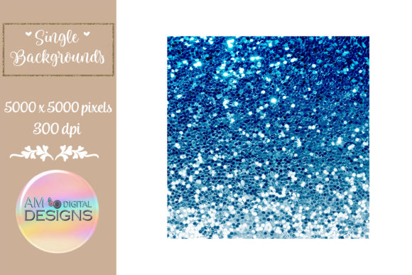 Intense Blue Gradient Chunky Glitter Graphic Backgrounds By AM Digital Designs