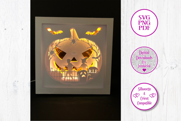 Jack O'Lantern Pumpkin - Shadow Box Graphic 3D Shadow Box By Jumbleink Digital Downloads