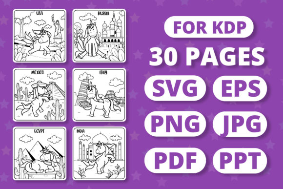 Print on Demand: KDP Traveling Unicorns Coloring Book Graphic Coloring Pages & Books Kids By RefreshUp