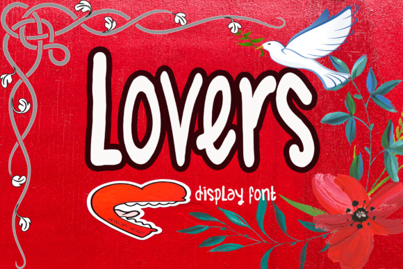 Print on Demand: Lovers Display Font By kateengletter