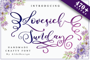 Print on Demand: Lovesick Sunday Script & Handwritten Font By aldedesign