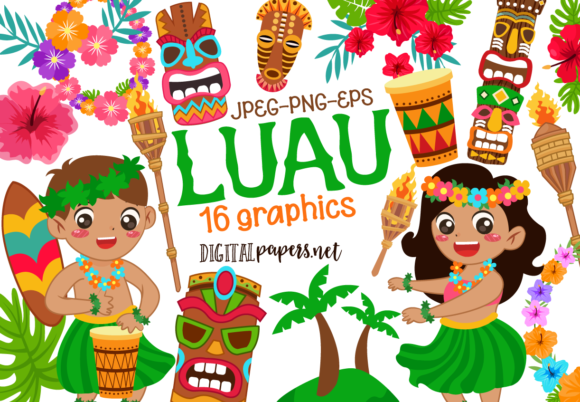 Print on Demand: Luau Graphic Illustrations By DigitalPapers