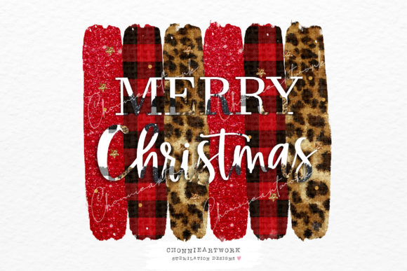 Merry Christmas Leopard, Red Plaid BG Graphic Crafts By Chonnieartwork