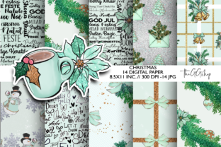 Print on Demand: Mint Christmas Scrapbook Paper Pack Graphic Illustrations By TheGGShop