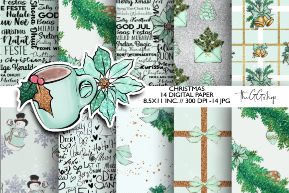 Print on Demand: Mint Christmas Scrapbook Paper Pack Gráfico Illustrations Por TheGGShop