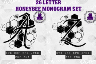 Monogram, Honey Bee Alphabet Bundle Graphic Crafts By Heather Terry