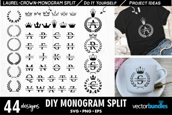 Print on Demand: Monogram Split Maker Graphic Crafts By vectorbundles