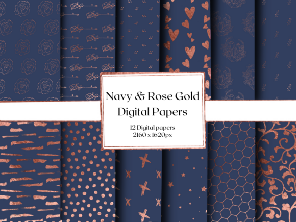 Navy and Rose Gold Digital Papers Graphic Patterns By Cheree Leite