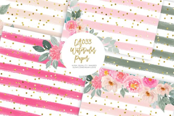 Pink Floral Digital Paper Pack, Clipart Graphic