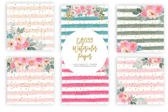 Pink Floral Digital Paper Pack, Clipart Graphic Design