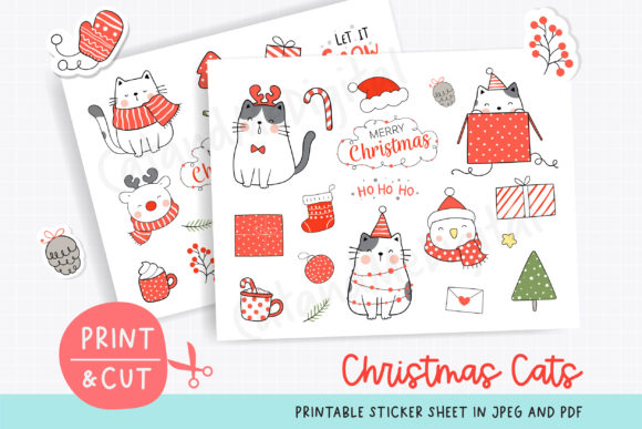 Printable Sticker Christmas Graphic Illustrations By CatAndMe