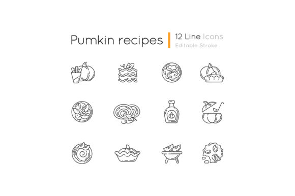 Print on Demand: Pumpkin Recipes Linear Icons Set Graphic Icons By bsd studio