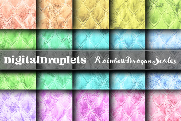 Rainbow Dragon Scales Pastel | Seamless Graphic Backgrounds By digitaldroplets