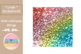 Rainbow Ombre Gradient Chunky Glitter Graphic Backgrounds By AM Digital Designs