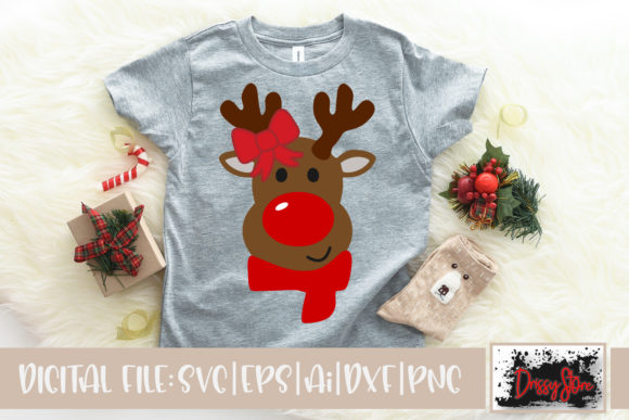 Rednosed Reindeer with Bow Graphic Illustrations By DrissyStore