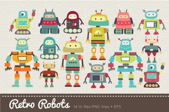 Retro Robots Clipart Vector PNG Graphic Illustrations By peachycottoncandy