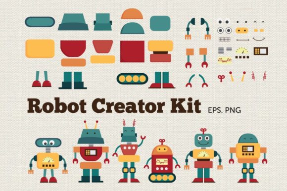Robot Creator Kit Clip Art Vector PNG Graphic Illustrations By peachycottoncandy