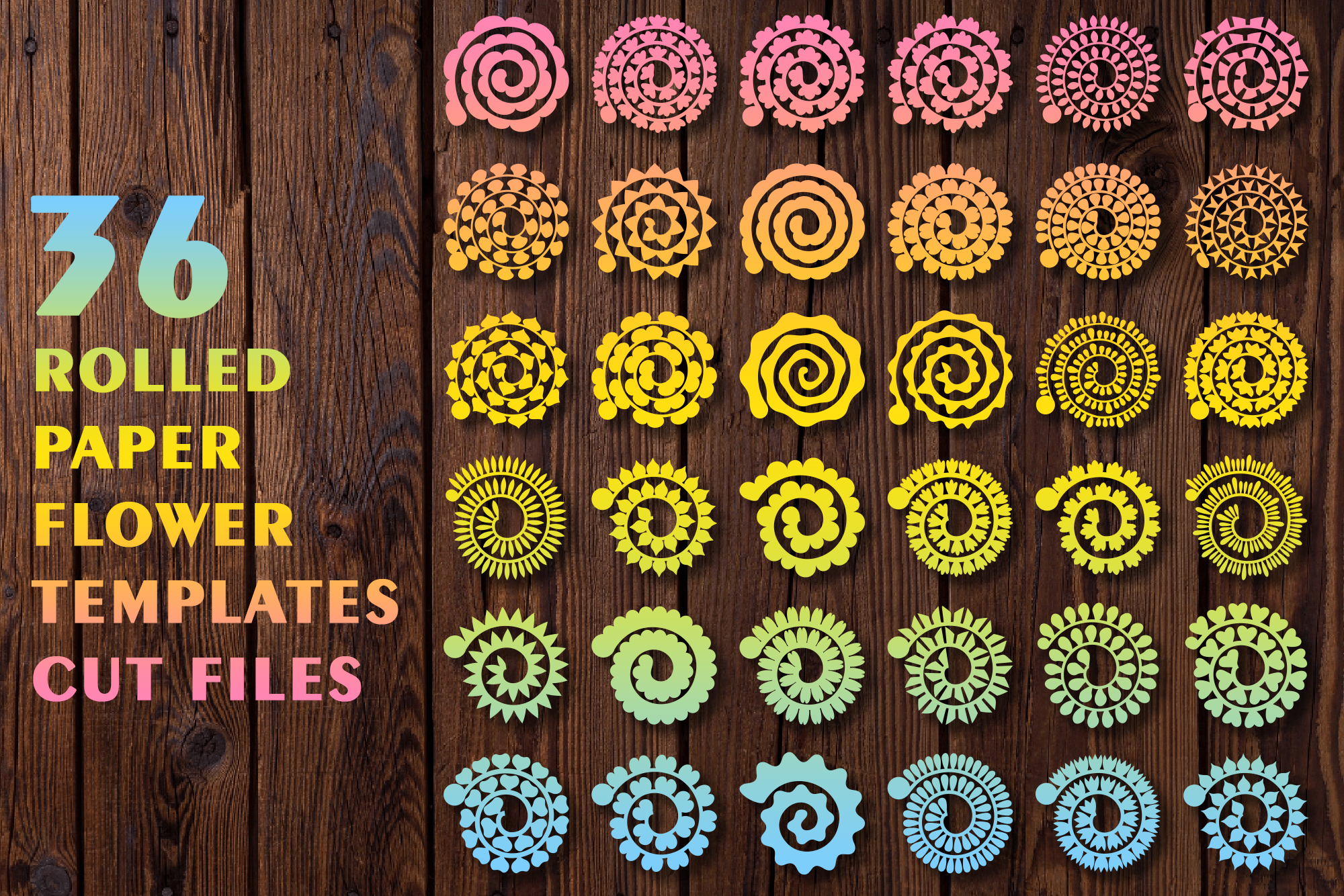 Rolled Paper Flower Templates Cut Files SVG File