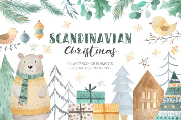 Scandinavian Watercolor Christmas Graphic Illustrations By Larysa Zabrotskaya