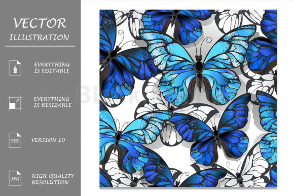 Seamless Pattern with Blue Butterfies Graphic Patterns By Blackmoon9