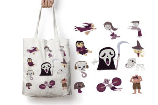 Print on Demand: Set of Halloween Characters of Ghosts. Grafik Illustrationen von LetterDesignAndArt