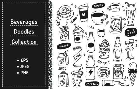 Set of Hand Drawn Beverages Doodle Graphic Illustrations By Big Barn Doodles