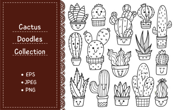 Set of Cactus Plant in Kawaii Doodle Graphic Illustrations By Big Barn Doodles