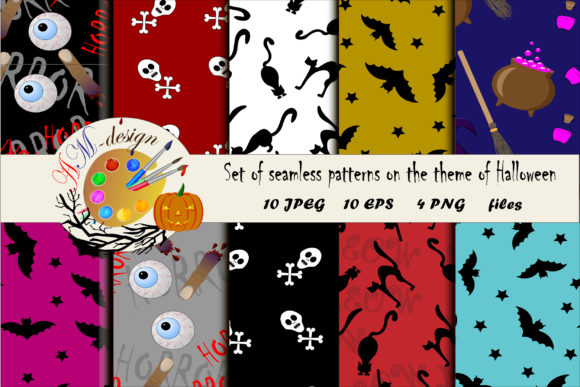 Set of Seamless Patterns for Halloween. Graphic Patterns By ladyangelika71