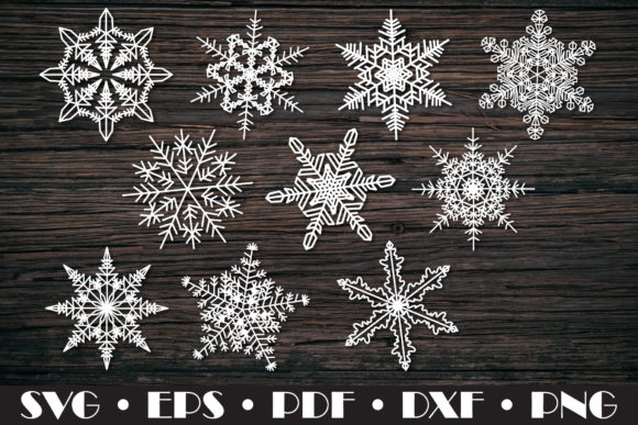 Snowflakes SVG 10 Cut Files Graphic