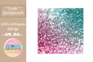 Strawberry Ombre Gradient Chunky Glitter Graphic Backgrounds By AM Digital Designs