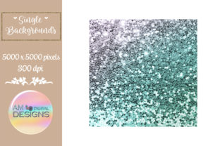 Succulent Inspired Ombre Chunky Glitter Graphic Backgrounds By AM Digital Designs