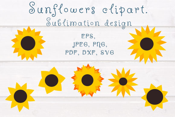 Print on Demand: Sunflower SVG Clipart. Sublimation. Graphic Illustrations By OK-Design