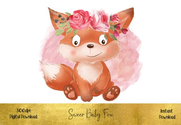 Sweet Baby Fox with a Floral Crown Graphic Illustrations By STBB