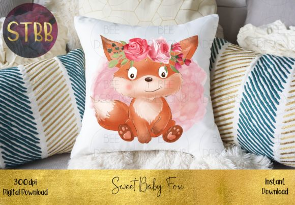 Sweet Baby Fox with a Floral Crown Graphic Download