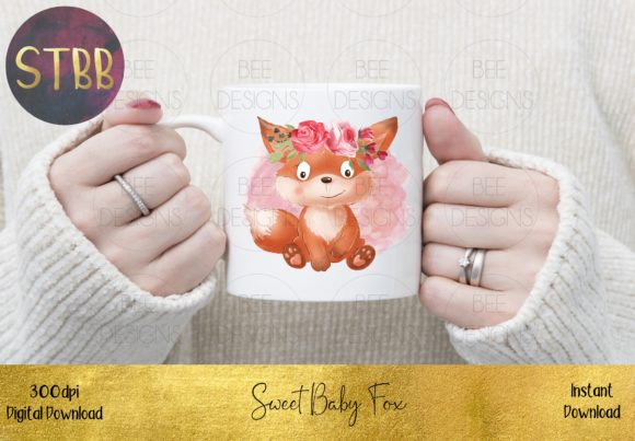 Sweet Baby Fox with a Floral Crown Graphic Item