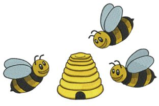Sweet Bees! Bugs & Insects Embroidery Design By BabyNucci Embroidery Designs