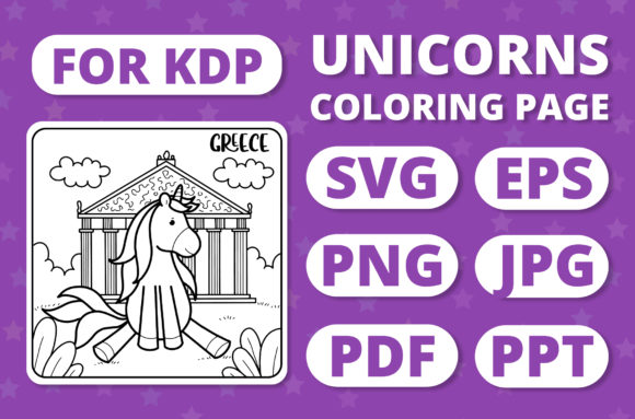 Print on Demand: Traveling Unicorns - Coloring Page #23 Graphic Coloring Pages & Books Kids By RefreshUp