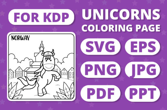 Print on Demand: Traveling Unicorns - Coloring Page #24 Graphic Coloring Pages & Books Kids By RefreshUp