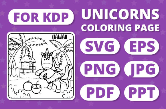 Print on Demand: Traveling Unicorns - Coloring Page #27 Graphic Coloring Pages & Books Kids By RefreshUp