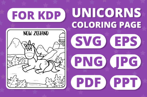 Print on Demand: Traveling Unicorns - Coloring Page #29 Graphic Coloring Pages & Books Kids By RefreshUp