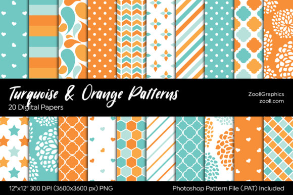 Turquoise and Orange Digital Papers Graphic Patterns By ZoollGraphics