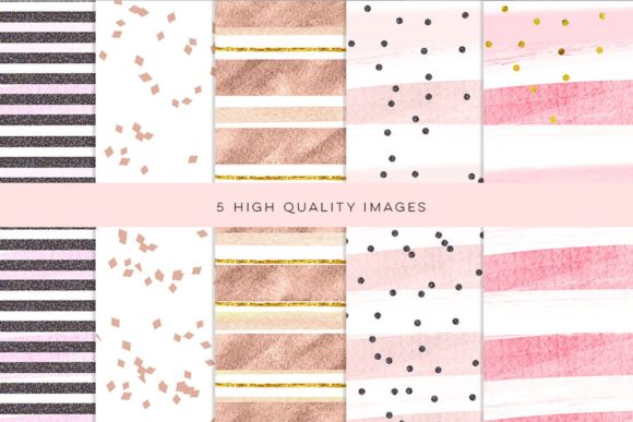 Print on Demand: Valentine Rose Gold Backgrounds, Clipart Graphic Illustrations By SunflowerLove